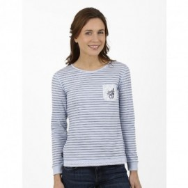 Tee Shirt Long Sleeves A L'Aise Breizh Aurelie striped sky