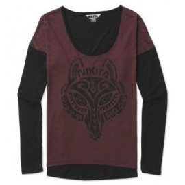 Nikita Wolf Wine Jet Black Long Sleeve Tee Shirt