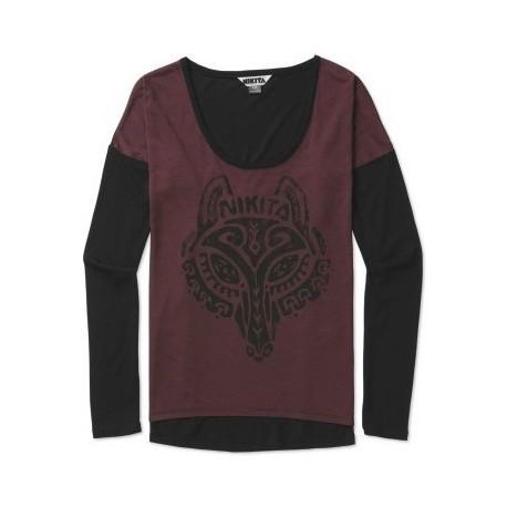 Nikita Wolf Wine Jet Black Long Sleeve Tee Shirt