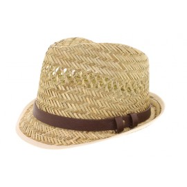 Chapeau de Paille Herman James bandeau imitation cuir
