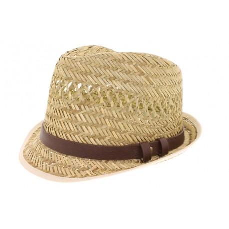 Chapeau de Paille Herman James bandeau imitation cuir