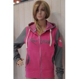 KanaBeach Print and Embroidery Gray Fushia Women's Zip Hoodie