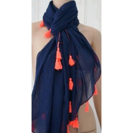Foulard Banana Moon Bilberry Cheich Marine Ponpon Rose Fluo