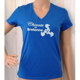 Tee Shirt Femme Land Art Chiante et Bretonne Bleu Royal