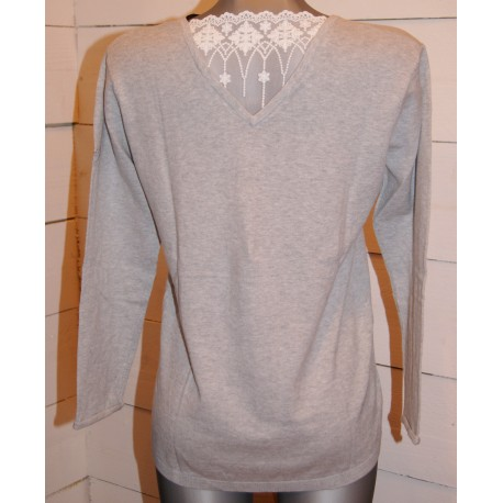 Only Breizh Angel Lace Grey Sweater