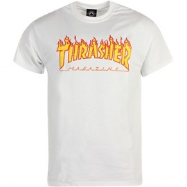 Tee Shirt Thrasher Logo Flame Blanc