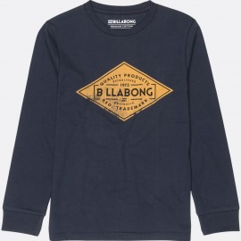 Junior's Long Sleeve Tee Shirt Navy Billabong Bogus