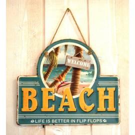Plaque Métal Déco Surfpistols Life in Flip Flop