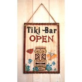 Plaque Metal Deco Surfpistols Tiki Bar Open