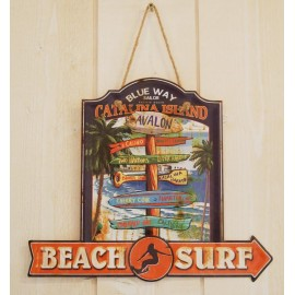 Plate Metal Deco Surfpistols Beach Sign