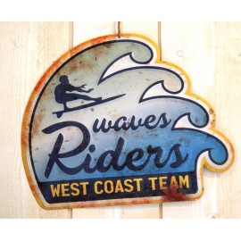 Plaque Metal Deco Surfpistols Wave Rider
