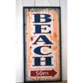 Plaque Metal Deco Surfpistols Beach 50M