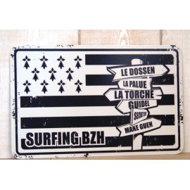 Plaque Metal Deco Surfpistols Surfing BZH