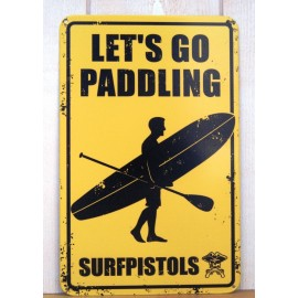 Plaque Metal Deco Surfpistols Let's Go Paddling