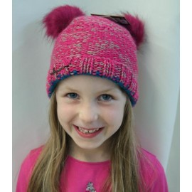 Bonnet Kids Maggy HERMAN Rose Double Pompon Fausse fourrure