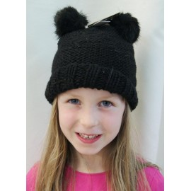 Kids Maggy HERMAN Black Lurex Double Pompon Faux Fur