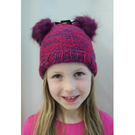 Kids Maggy HERMAN Raspberry Double Pompon Faux Fur