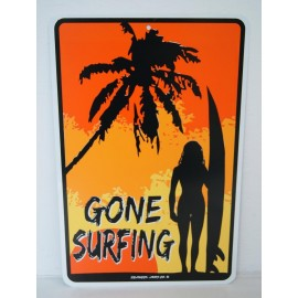 Plaque ALU Déco Surfpistols Gone Surfing Lady