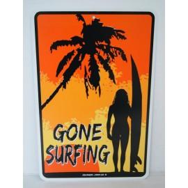 Plaque ALU Déco Surfpistols Gone Surfing Lady