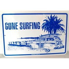 Plaque ALU Déco Surfpistols Gone Surfing Woody