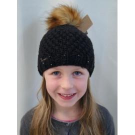 Bonnet Kids ICE Herman Maggy Grosse Maille Noir Pompon Fausse fourrure