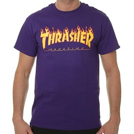 Tee Shirt Thrasher Logo Flame Purple