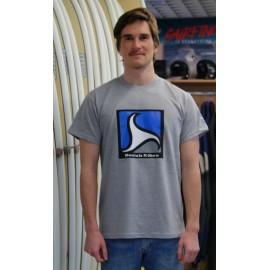 Men's Tee Shirt BREIZH RIDER Trez Heather Grey Black and Blue