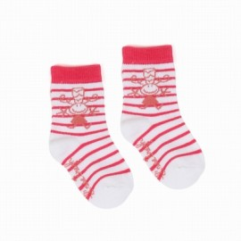 Socks Layette A L'Ease Breizh Striped Pink White