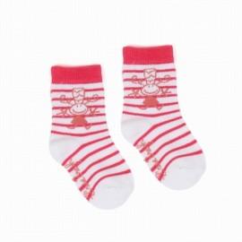 Socks Layette A L'Ease Breizh Striped Pink White