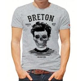 Tee Shirt Homme Stered Breton Bev Atav Gris Chiné