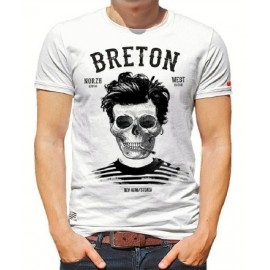 Tee Shirt Homme Stered Breton Bev Atav Blanc