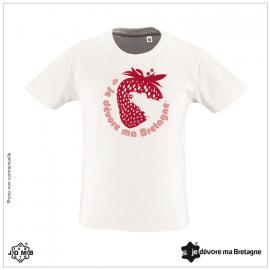 JDMB Organic Child Tee Shirt Strawberry White