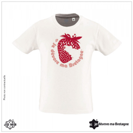 Tee Shirt Enfant Bio JDMB Fraise Blanc