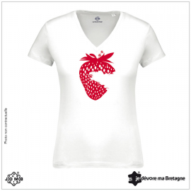 Organic Women's Tee Shirt JDMB Strawberry White