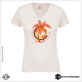Organic Women's Tee Shirt JDMB White Palm