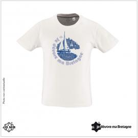 JDMB Organic Child Tee Shirt White Sailboat