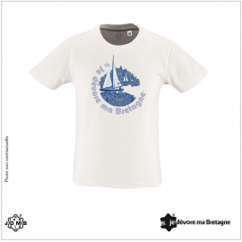 JDMB Organic Child Tee Shirt White Sailboat