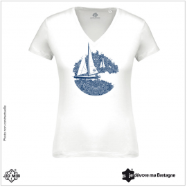 Organic Women's Tee Shirt JDMB White Sailboat