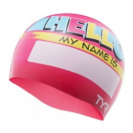 TYR SILICONE Junior Swimming Beanie My Name is Pink