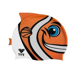 SILICONE Kids Swimming Cap TYR Charactyr Happy Fish Cap Orange
