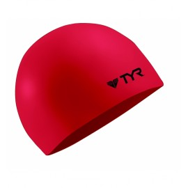 Mixed Silicone Swimming Hat TYR Wrinkle Free Red