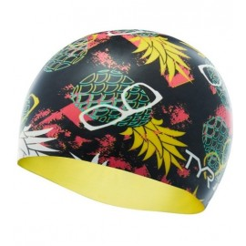 Silicone Swimming Hat TYR Graphic Pineapple Multi Black