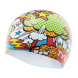 Bonnet De Natation en SILICONE TYR Graphic Comic Action White Multi