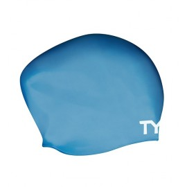 Swimming Cap in SILICONE TYR Long Blue Hair