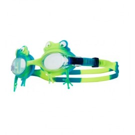 Kids TYR Swimming Goggles Swimple Frog Clear Green Yellow