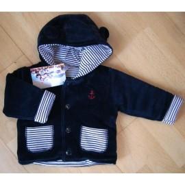 Lined Baby Velvet Jacket PAPYLOU Crotoy Uni Marine