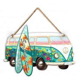 Plaque Métal de Décoration Mini Bus Emeraude