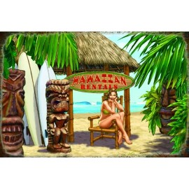 Plaque de Décoration en Métal Hawaiian Rental