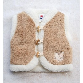 Sleeveless Vest Baby Papylou Gibe Curly Doublé Sheep Camel