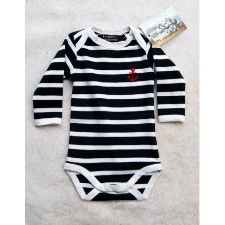 93869765f47f Baby Body Long Sleeve Papylou Navy Striped - Breizh Rider